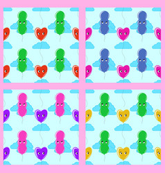 set color seamless pattern of cute smiling vector image