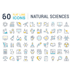 Set of line icons of natural history vector