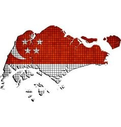 Singapore map with flag inside vector image vector image