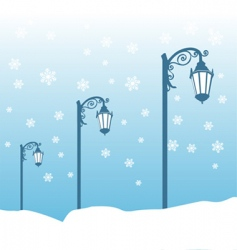 street lamp in winter vector image vector image
