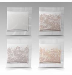 Tea bags square shape mock vector