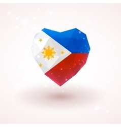 The flag of philippines in shape diamond glass vector