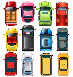 Top view of different cars vector image