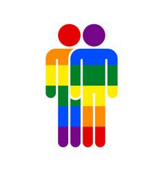 two man lgbt movement rainbow flag vector image vector image