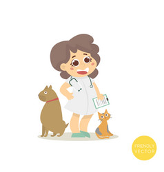 Veterinary with dog and cat isolated on white vector
