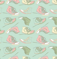 Vintage seamless pattern of sneakers vector