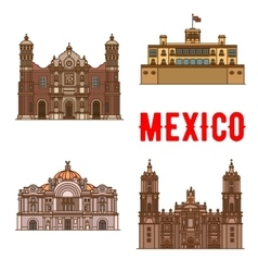 Tourist landmarks and sightseeings of mexico vector