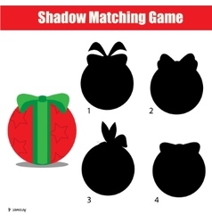 Shadow matching game christmas winter holidays vector