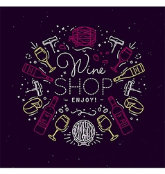 Flat alcohol monogram wine vector