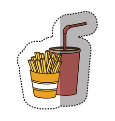 Color fries french and soda icon vector