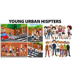 City scenes and young urban hipsters vector