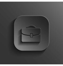 Briefcase icon - black app button vector image