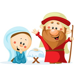 Funny christmas nativity scene with holy family - vector