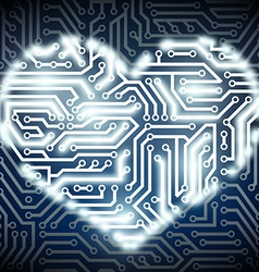 human heart with the circuit board inside vector image