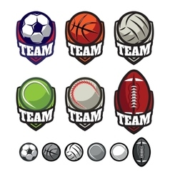 Logos for sports teams with different balls vector