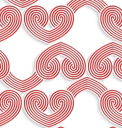 Colored 3d red swirly striped hearts vector