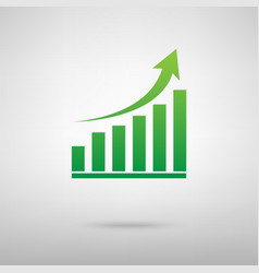Growing graph green icon vector