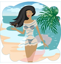 Beautiful girl on the beach vector