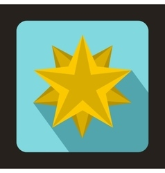 Ten pointed star icon flat style vector