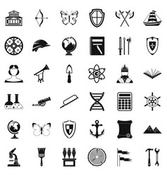 Ancient thing icons set simple style vector