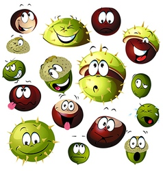 Chestnut and acorn cartoon character vector