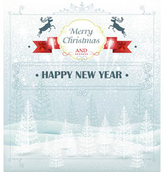 Christmas winter forest landscape vector
