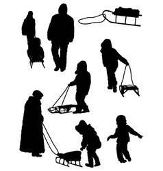 Collection of silhouettes of people and children w vector image vector image
