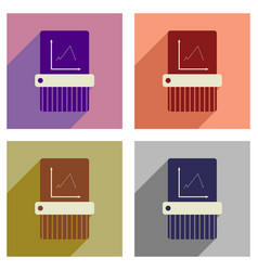 Concept of flat icons with long shadow shredder vector