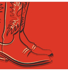Cowboy boots on red background vector