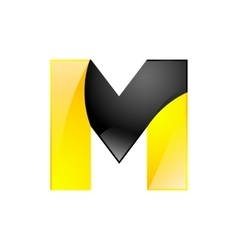 Creative yellow and black symbol letter M for your vector image