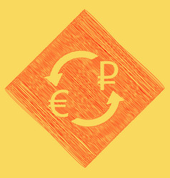 Currency exchange sign euro and russia ruble red vector