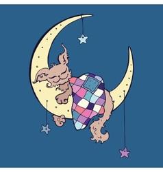 Cute dog sleeps on the moon vector