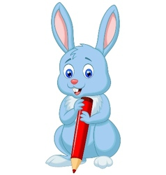 Cute rabbit cartoon holding red pencil vector image vector image