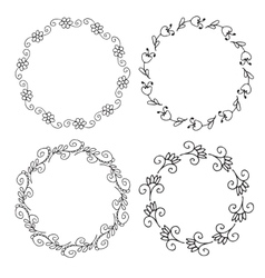 Decorative hand drawn floral frames vector image