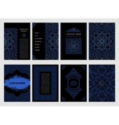 Eastern blue arabic lines design templates vector image