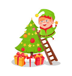 Elf cartoon character decorate christmas tree star vector