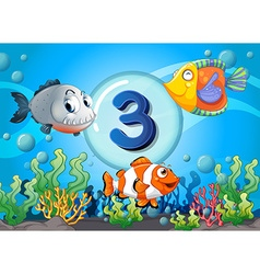 Flashcard number three with 3 fish underwater vector