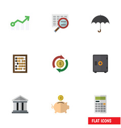 Flat icon incoming set of bank parasol growth vector