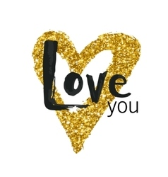 Gold glitter heart greeting card for vector