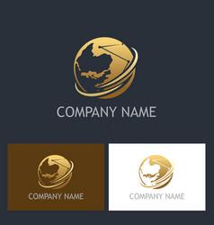 golden globe technology company logo vector image