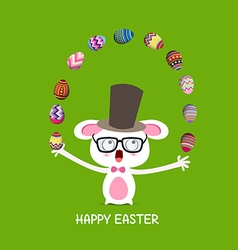 Happy easter circus catch rabbit with eggs vector