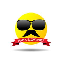 Happy movember smiley vector