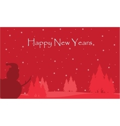 Happy new years with snow and snowman scenery vector