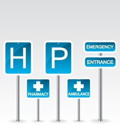 Hospital road sign vector