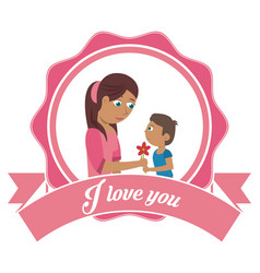 I love you mom card - son gifting flower vector