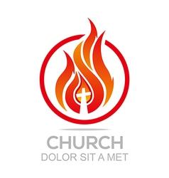 Logo Fire Rescue Church Christ Savior Religion vector image