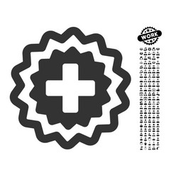 Medical cross stamp icon with professional bonus vector