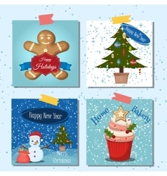 Merry Christmas greeting card set with snow vector image vector image