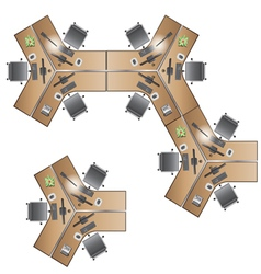 office Furniture workstation top view for interior vector image vector image