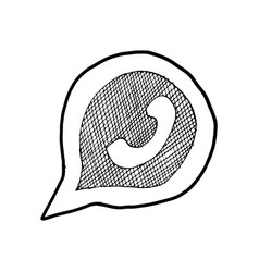 Phone handset in speech bubble hand drawn icon vector